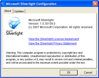 tampilan tool Silverlight untuk Update-an OS Windows