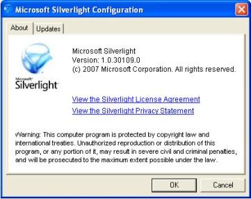 tampilan tool Silverlight untuk Update-an OS Windows
